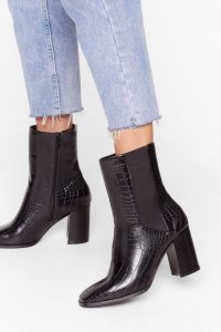 NASTY GAL Wanna Croc 'N' Roll Faux Leather Heeled Boots in Black