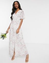 Warehouse bridesmaids angel sleeve button front floral satin maxi dress in pink ~ bridesmaid dresses