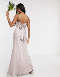 Warehouse bridesmaids satin cami maxi dress with bow back detail in taupe – strappy bridesmaid dresses