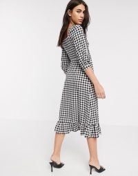 Warehouse gingham square neck peplum dress in black and white