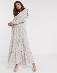 Warehouse ornate floral print midi dress in blue