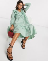 Warehouse ruffle front tiered midi dress in sage | billowy vintage look dresses