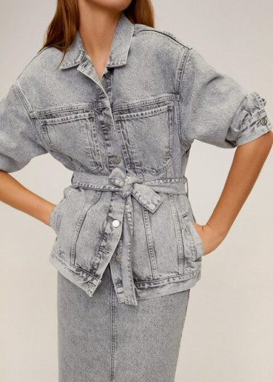 MANGO Washed denim jacket in grey REF. 67054415-ACID-LM