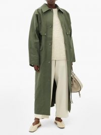 KASSL EDITIONS Waxed-cotton trench coat in khaki-green | longline macs