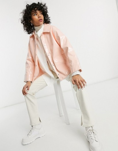 Weekday Electra vinyl rain jacket in light orange / shiny outerwear