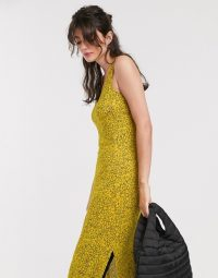 Whistles exclusive jersey vest midi dress in illustrated line floral print in yellow / side split dresses