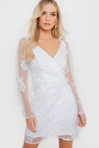 IN THE STYLE WHITE FLORAL ORGANZA PUFF SLEEVE WRAP DRESS – sheer going out dresses