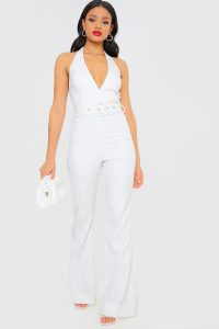 IN THE STYLE WHITE HALTERNECK BELTED JUMPSUIT