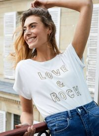 MINT VELVET White Love & Rock Stud T-Shirt / slogan tee
