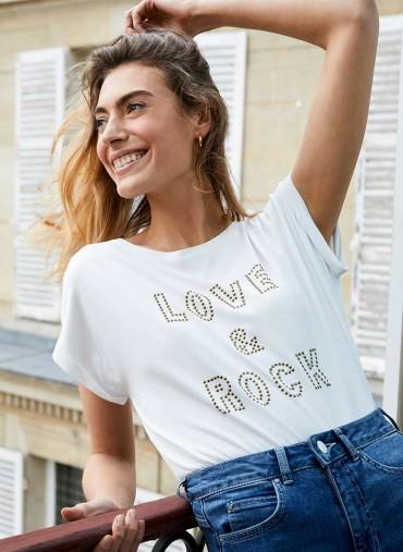 MINT VELVET White Love & Rock Stud T-Shirt / slogan tee