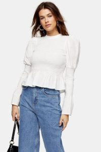 TOPSHOP White Plain Shirred Top