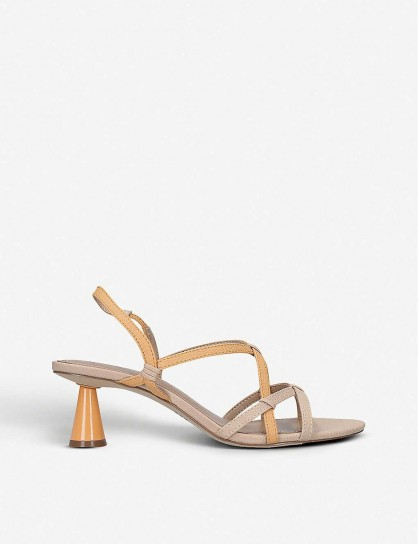 WHO WHAT WEAR Perla strappy faux-leather sandals in orange / cone heel sandal