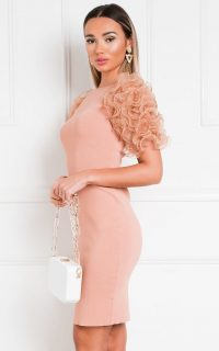 IKRUSH Willa Ruffle Sleeve Jumper Dress in Bronze