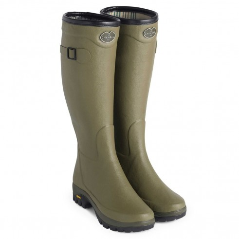 LE CHAMEAU WOMEN'S COUNTRY VIBRAM JERSEY LINED BOOT IN VERT VIERZON / green wellington boots