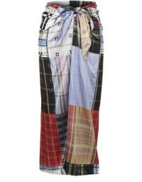 GANNI Long silk patchwork skirt | checked maxi skirts