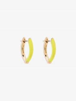 Melissa Kaye 18K Yellow Gold Cristina Enamel Earrings / bright hoops - flipped