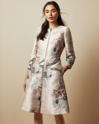 TED BAKER CONIIEY Woodland dress coat in pale pink / special occasion coats