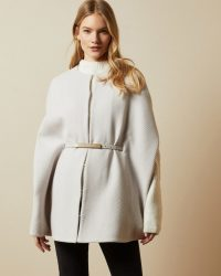 TED BAKER HALIAY Wool chevron cape in natural / neutral capes