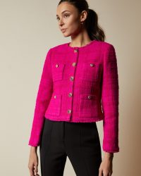 TED BAKER ILEX Wool jacket with patch pockets in bright pink / vintage style jackets