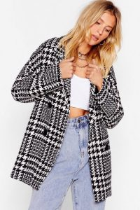 NASTY GAL Wool Out All the Stops Houndstooth Jacket in Black