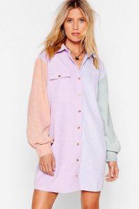 NASTY GAL Writers Block Colour Corduroy Shirt Dress in Lilac