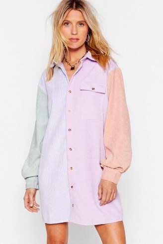 NASTY GAL Writers Block Colour Corduroy Shirt Dress in Lilac - flipped