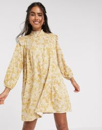 Y.A.S frill detail mini dress in abstract floral print – retro fashion