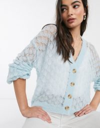 Y.A.S knitted cardigan with wide sleeves in blue | sheer knits