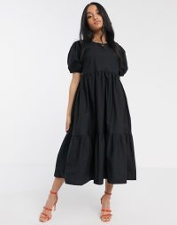 Y.A.S Petite tiered smock midi dress with puff sleeve in black