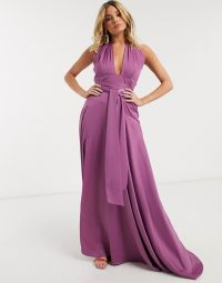 Yaura luxe satin maxi dress with cut out detail in lavender