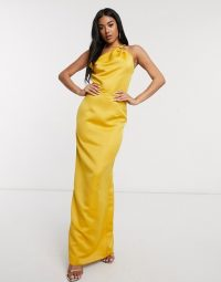 Yaura satin coloumn maxi dress with strappy back in marigold – yellow occasion dresses