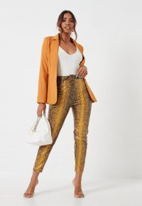 MISSGUIDED yellow snake faux leather straight leg trousers – reptile print pants
