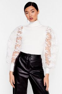 NASTY GAL You Pick the Lace Puff Sleeve Turtleneck Sweater in White – sheer sleeved high-neck sweaters