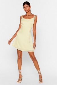 NASTY GAL x Josefine H.J You'll Be Back Tie Mini Dress in Lemon