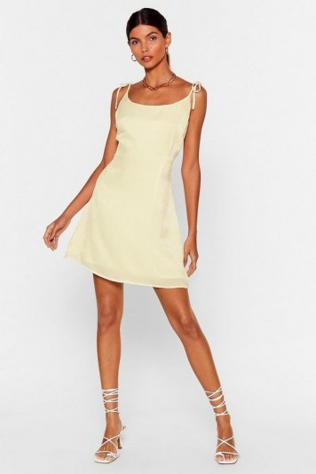 NASTY GAL x Josefine H.J You'll Be Back Tie Mini Dress in Lemon
