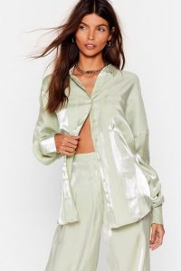NASTY GAL x Josefine H.J Your Shine is Now Satin Button-Down Shirt in Mint