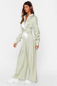 NASTY GAL x Josefine H.J Your Shine is Now Satin Wide-Leg Pants in Mint