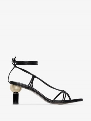 Yuul Yie Black Trophy 70 Leather Sandals / contemporary heels