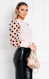 IKRUSH Zarah Sheer Polka Dot Sleeve Jumper in Pink