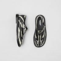 Burberry Zebra Print Leather T-bar Shoes Black/White