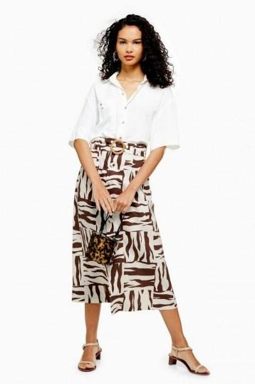 TOPSHOP Zebra Print Linen Blend Midi Skirt in Brown - flipped