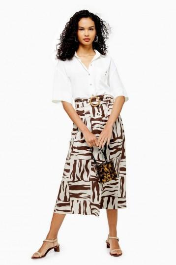 TOPSHOP Zebra Print Linen Blend Midi Skirt in Brown