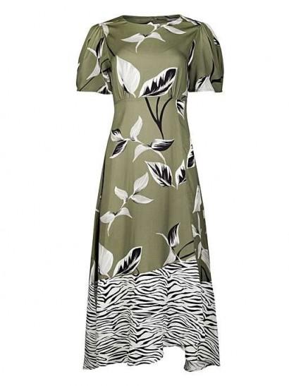 OLIVER BONAS Zebra Print Patched Green Midi Dress / open back dresses