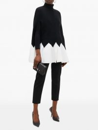 ALEXANDER MCQUEEN Zigzag black and white colour-block wool-blend cape ~ chic outerwear