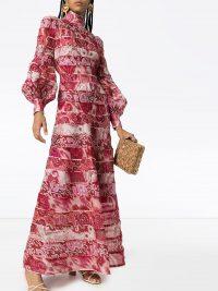 ZIMMERMANN Ikat print maxi dress in raspberry-red