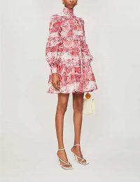 ZIMMERMANN Wavelength printed linen and silk-blend mini dress in Spliced Pink Ikat   voluminous fashion