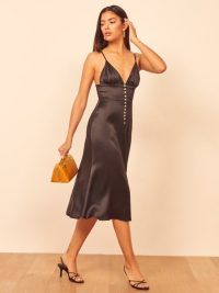 REFORMATION Abbey Dress in Black ~ skinny strap dresses
