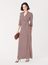 Diane von Furstenberg Abigail Silk-Jersey Maxi Wrap Dress in 3d Chain Paprika / elegant occasion wear