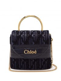 Top Handle Bag | CHLOÉ Aby Lock small monogram navy-leather bag