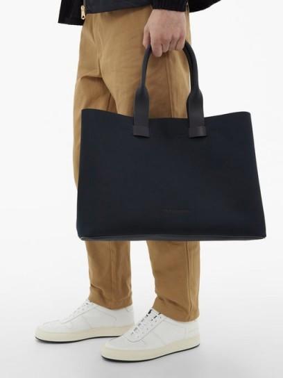 TROUBADOUR Adventure leather-trimmed nylon tote / men's navy bags